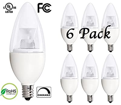 Bioluz LED 5W Dimmable Candelabra LED Bulbs C37 E12 (40W Equivalent) UL Listed, 350 lumens, 120° Beam Angle, 3000K Soft White LED Candle Bulbs
