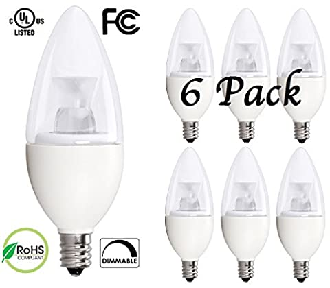 6 Pack Bioluz LED™ 5W Dimmable Candelabra LED Bulbs C37 E12 (40W Equivalent) UL Listed, 350 lumens, 120° Beam Angle, 3000K Soft White LED Candle Bulbs, Pack of (350 Lumen Light)