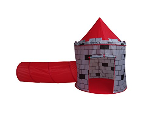 Adventure Pop Up Play Tent - Play Kreative Red Knights Castle Tent with Crawling Tunnel and Carry Case. Portable Foldable pop up Knights Castle Playhouse for indoor/outdoor Kids fun activities. Great Birthday Gift for Girl or Boy