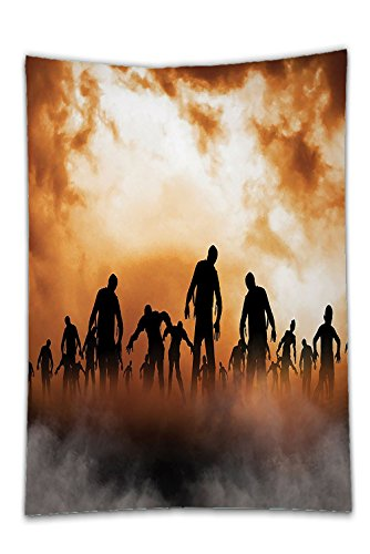 Interestlee Satin drill Tablecloth?Halloween Decorations Collection Zombies Dead Men Body Walking in the Doom Mist at Dark Night Sky Haunted Decor Orange Black Dining Room Kitchen Rectangular Table Co (Octagon Cloth Table)