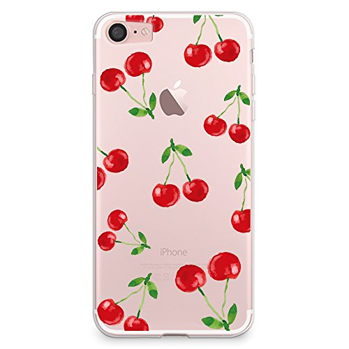 CasesByLorraine iPhone 8 Case, iPhone 7 Case, Cherry Pattern Clear Transparent Case Flexible TPU Soft Gel Protective Cover for Apple iPhone 7 & iPhone 8 (P88)