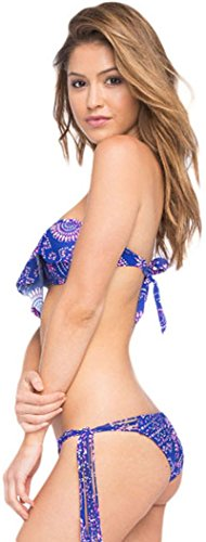 Yonas Women's Tie-side Panites Fringe Bandeau Bikini Swimsuit(SIZE M)