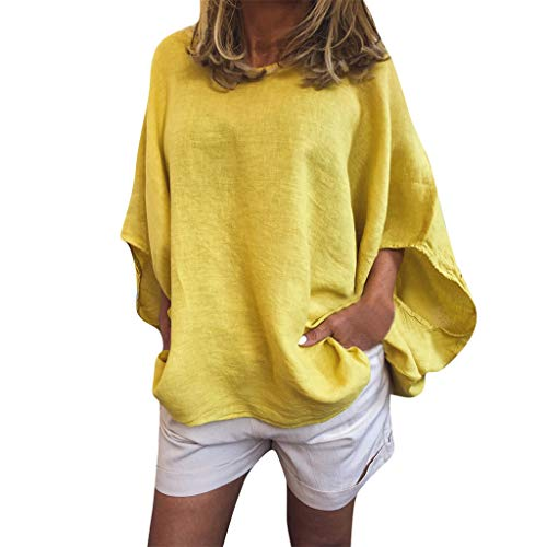 Women Tops Casual Lantern Sleeve Blouse Loose Linen Tops with Pocket Yellow