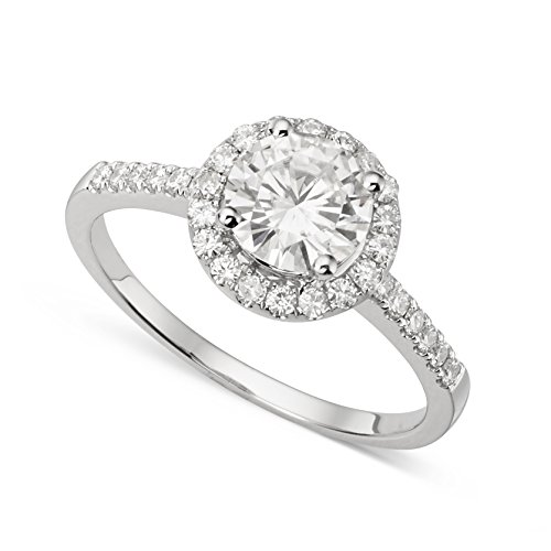 (14K White Gold Round Brilliant Cut 6.5mm Moissanite Ring - size 7, 1.30cttw DEW by Charles & Colvard )