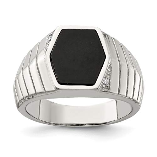 - 925 Sterling Silver Mens Cubic Zirconia Cz Black Onyx Band Ring Size 10.00 Man Fine Jewelry Dad Mens Gift Set