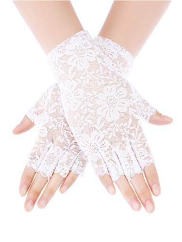 Skylety Sunblock Fingerless Bridal Lace Gloves Short Floral Gloves for Women (White 4)