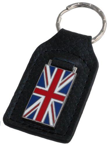 (Triple-C Union Jack Flag Leather and Enamel Key Ring Key Fob)