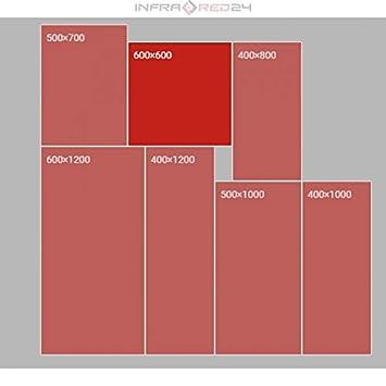 mit Thermostat RED AGE Spiegel Infrarotheizung IGH 6060M 600x600x8 mm ✓ rahmenloses Design ✓ 400 Watt ✓ bis zu 9 m/² ✓ f/ür Steckdose