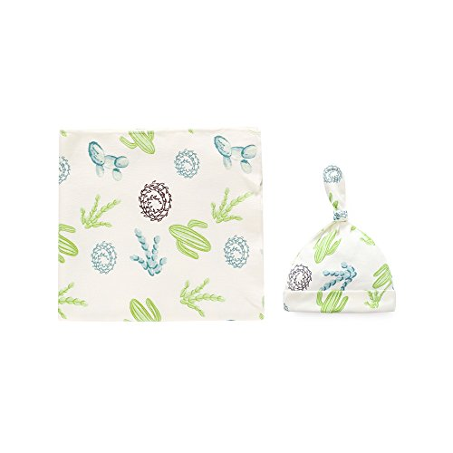 100% Cotton Knitted Baby Swaddle Blanket with Hat Set, 35x35, Newborn Swaddle Wrap, Receiving Blankets, Burping Cloth & Stroller Cover, Perfect Baby Shower Gift for Boys Girls(Cactus)