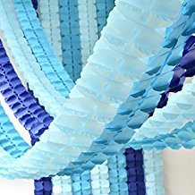 Pack of 6, Hanging Garland Four-Leaf Tissue Paper Flower Garland Reusable Party Streamers for Party Wedding Decorations, 11.81 Feet/3.6M Each (BLUE SET 6PC) Blue Ceiling Decorations