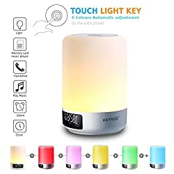[Upgraded] Keynice All in One Touch Sensor Bedside Table Lamp with Portable Wireless Led Bluetooth Speaker Dimmable color change Light Alarm Clock Hands-free Military Time display - White