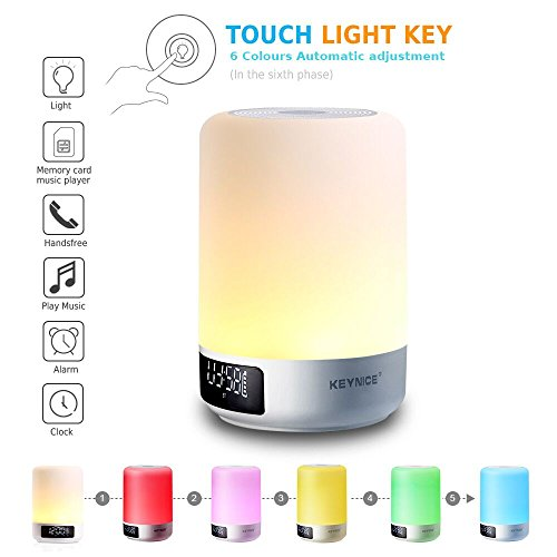 [Upgraded] Keynice All in One Touch Sensor Bedside Table Lamp with Portable Wireless Led Bluetooth Speaker Dimmable color change Light Alarm Clock Hands-free Military Time display - White (Lamp Clock)