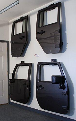 Jeep Wrangler Door Hanger Storage Rack Bracket, Set of (2) Hangers, CJ YJ TJ LJ JK JKU, Built for Jeeps, Not a Ladder Hanger Like The Rest, Made In The USA