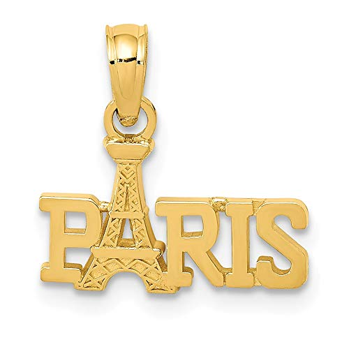 - 14k Yellow Gold Paris Eiffel Tower Pendant Charm Necklace Special Person Travel Transportation Fine Jewelry Gifts For Women For Her
