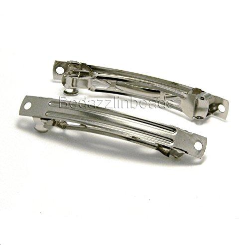 6 DIY Silver Steel 3 inch Plain Barrette Hair Clip Findings w/2 Embellishing Holes