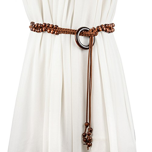 Bohemia Woven Belt Wood Beads Weave Dress Decorative Vintage Belts for Women - Wear Cinch Belt