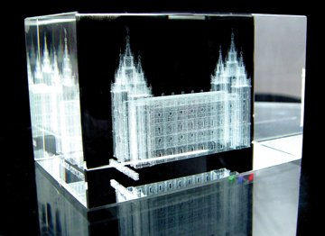 Salt Lake City Temple Crystal Cube