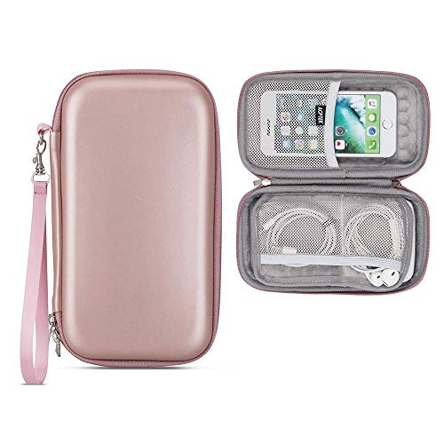 Hard Carrying Case for Power Bank, Fits for Anker PowerCore, POWERADD Pilot, Yoobao Power Bank, AGPTEK Shockproof Pouch for External Battery, Rose Gold