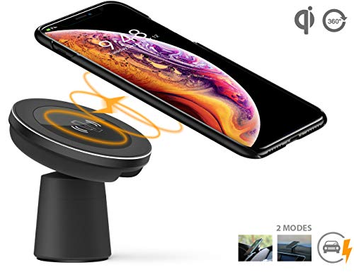 Wireless Car Fast Charger, Dgtal 2 in 1 Magnetic Vehicle Mount Phone Holder Air Vent or Dashboard Compatible for iPhone Xs/XS Max/XR/X/8/8 Plus Samsung Galaxy S9/S9 Plus/Note 9 All Qi-Enabled Devices