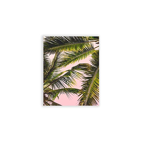 (Humble Chic Wall Art Prints - Beach Series Home Decor Contemporary Poster Picture Decorations for Living Room, Dining, Bedroom, Office, Dorm - Pink Palms Tropical Tree, 8x10 Vertical)