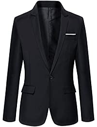 efae7ac9238 Mens Slim Fit Casual One Button Blazer Jacket