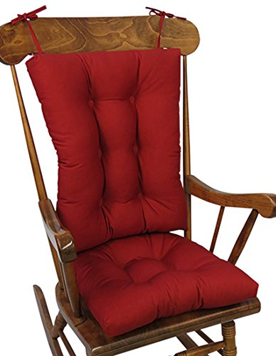 The Gripper Non-Slip Twill Rocking Chair Cushions, (Red Gripper)