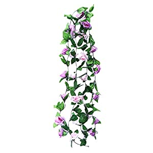VORCOOL Artificial Rose Vine Silk Flower Garland Hanging Fake Roses Flowers Plants for Home Wedding Party Decor - 245cm Pack of 2 68