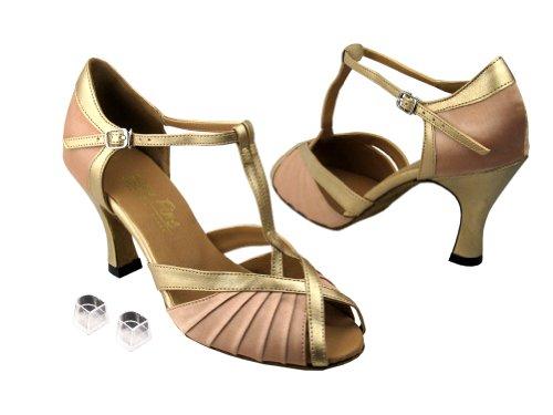 Very Fine Ladies Women Ballroom Dance Shoes EK2707 With 3 Heel Light Brown Satin & Light Gold HIQayx