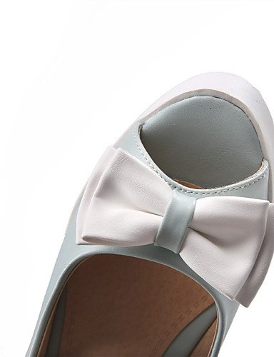 GGX/ Damenschuhe-Sandalen-Kleid / Lässig-Kunstleder-Keilabsatz-Wedges-Blau / Rosa / Weiß white-us8.5 / eu39 / uk6.5 / cn40