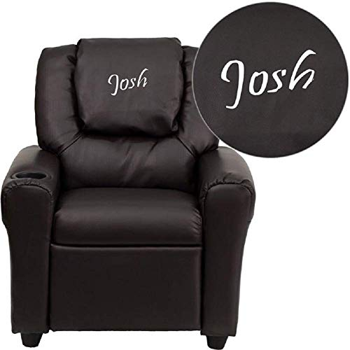 Custom Designed Kids Recliner with Cup Holder and Headrest with Your Personalized Name (Brown)