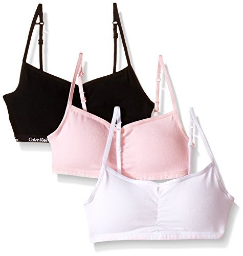 Calvin Klein Big Girls 3 Pack Removable Pad Rouched Bra, Pink/Black, Small