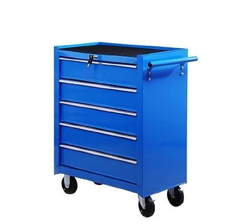 Homcom - Carro de taller mecánico con 5 cajones, caja de herramientas de trabajo con 5 cajones - Caja de herramientas móvil con ruedas azules: Amazon.es: ...