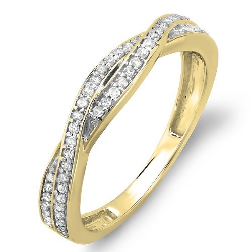0.25 Carat (ctw) 14K Yellow Gold Round Diamond Anniversary Wedding Band Swirl Matching Ring 1/4 CT (Size 5)