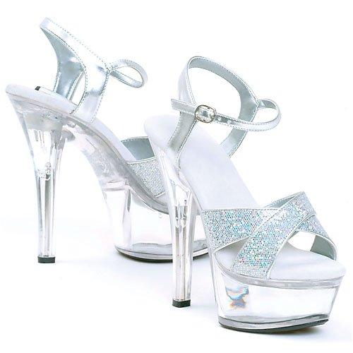 Ellie Shoes Women's 6 inch Heel Glitter Sandal (Silver Glitter;11) ()