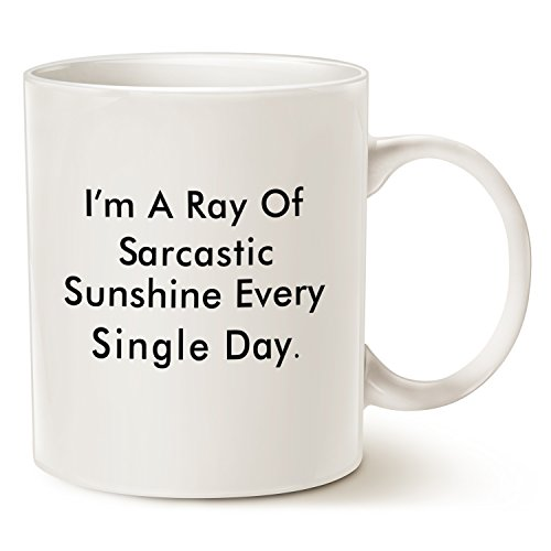 Funny Personalize Coffee Mug, Sarcastic Ray Of Sunshine Father's Day and Mother's Day Gifts, Best Mug for Lovers of Sarcasm, Ceramic Cup White, 11 Oz by LaTazas (Mug White 11 People Oz)