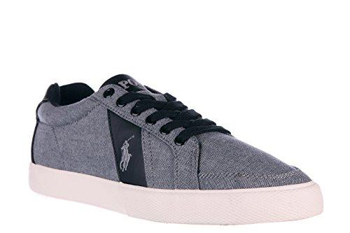 Polo Ralph Lauren Scarpe Da Uomo In Cotone Sneakers Da Ginnastica Hugh Grigio