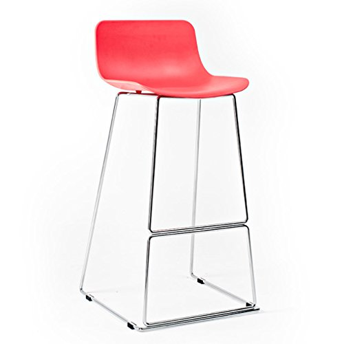 - Nordic Bar Stool Bar Reception High Chair Red or Orange High Stool with Backrest and Footrest ABS Soft Seat (Color : Red)