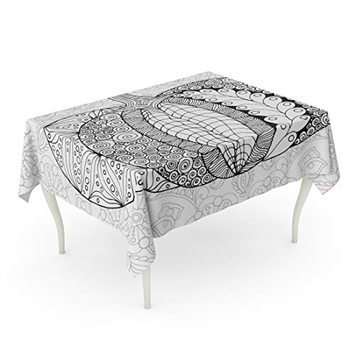 Tarolo Rectangle Tablecloth 60 x 102 Inch Coloring Zentangle Pumpkin Black White Traditional Symbol of Thanksgiving Halloween Autumn Sketch for Colouring Page Adult Table Cloth for $<!--$39.90-->