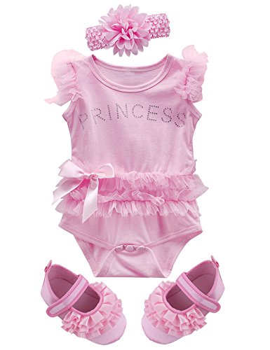 Mombebe Baby Girls' Princess Bodysuit Outfits with Headband Shoes (0-3 Months, Pink 2)