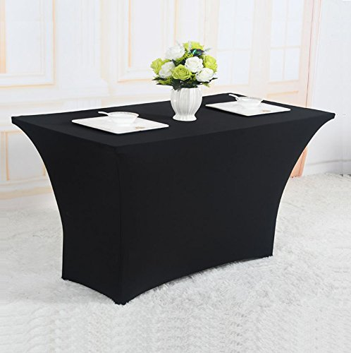 Reliancer 2 Pack 48FT Rectangular Spandex Table Cover Four-Way Tight Fitted Stretch Tablecloth Table Cloth for Outdoor Party DJ Tradeshows Banquet Vendors Weddings Celebrations (6FT, Black) by Reliancer (Image #8)