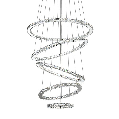 MEEROSEE Crystal Chandeliers Modern LED Ceiling Lights Fixtures Pendant Lighting Dining Room Chandelier Contemporary Adjustable Stainless Steel Cable 5 Rings DIY Design D31.5 27.6 23.6 19.7 11.8