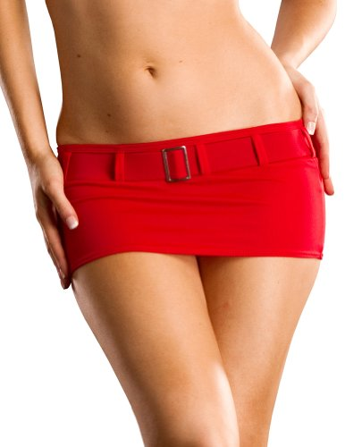 Mini Rise Skirt Low (Sexy Mini Skirt, Low Rise and Belted, Red Large, Made in the USA)