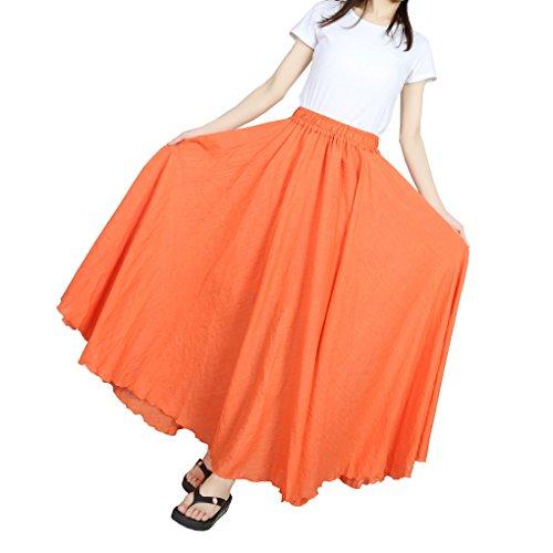 Evedaily Femme Jupe Longue Taille Haute Pliss Taille lastique en Coton Lin Long Skirt Orange