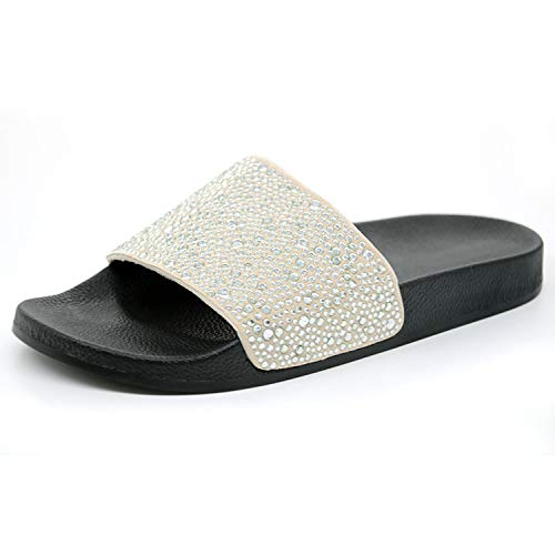 (Victoria-show-Flip-Flops Summer Women Slippers Female Sparkling Crystal Shoes Beach Sandals,Silver,7)