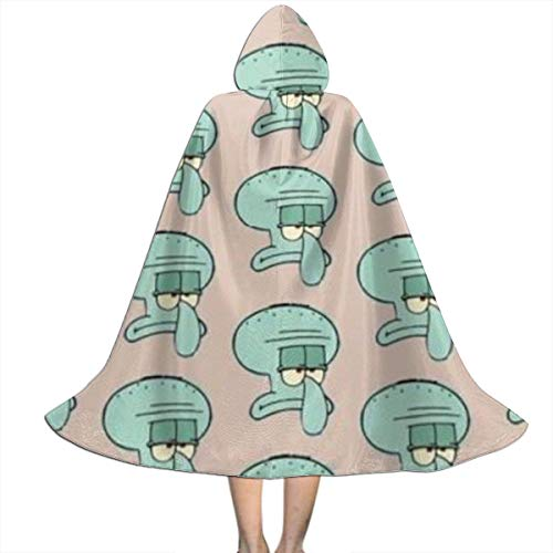 Squidward Tentacles Halloween Costume (Squidward Tentacles Avatar Hooded Cape for Kids Children's Cloak with Hood for Halloween Role Play Devil Vampire Wizard)