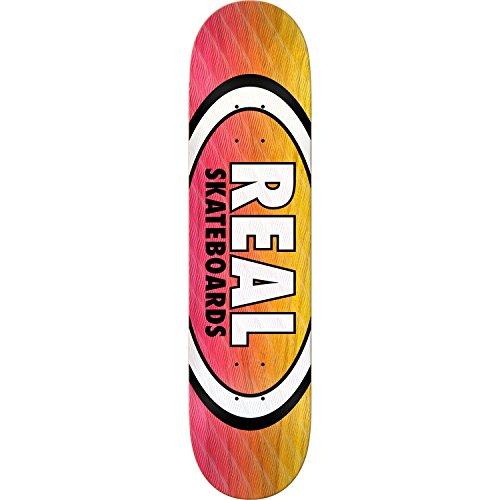 桁扇動デッドロックReal Skateboards平行Fadeオーバルピンク/イエロースケートボードデッキ – 8.5