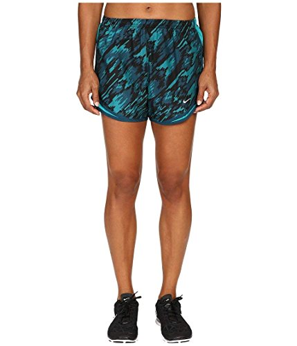 (Nike Women's Dry Tempo Print 2 Running Short Rio Teal/Rio Teal/Reflective Silver Shorts LG X 3)
