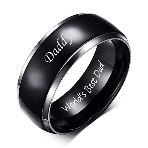 (VNOX Titanium Ring Daddy World's Best Dad Engraved Personalized Wedding Bands Rings Birthday Gift for Men Dad,Size 12)