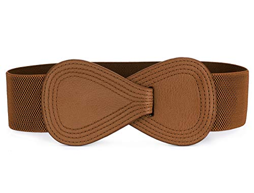 Allegra K Interlock 8-shaped Faux Leather Buckle Elastic Belt for Lady Brown One Size