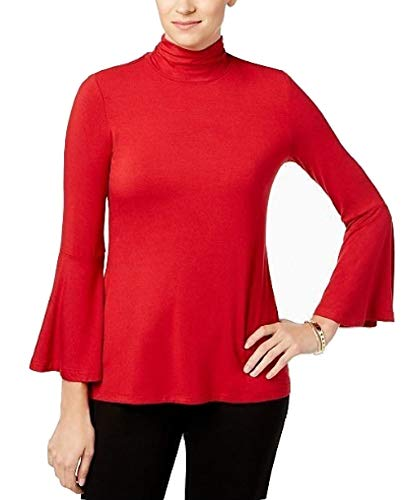 (Alfani Womens Mock Neck Jersey Pullover Top Red XL)